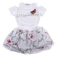 2шт малыш Дети Детские девушки футболка топы+цветочные юбки платье наряды девушки одежда набор 2Т 3Т 4Т 5Т 6Т
