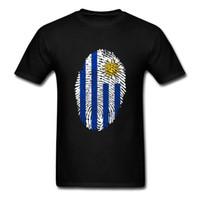 Weinlese, die populäre Männer-T-Shirts Uruguay-Flaggen-Fingerabdruck Kurzärmlig 100% Baumwolle O-Hals-T-Shirt für Mann Shirts
