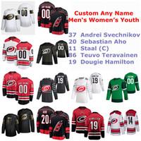 S-6XL Carolina Hurricanes jerseys del hockey de 37 Andrei Svechnikov Jersey Sebastián Aho Staal Teuvo Teräväinen Dougie Hamilton cosido personalizada