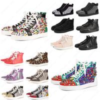 Mit Box Neuest Ace Designer Mode Rote Bottoms Schuhe Nieten Spikes Flache Turnschuhe für Männer Frauen Glitter Party Liebhaber Original Sneaker