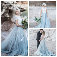 Exquisite White Dusty Blue Wedding Dress Set with Magic Tull...