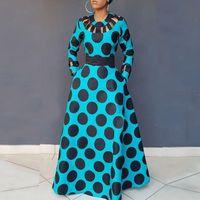 Clocolor Robe à pois Vintage Femme Automne Hiver manches longues imprimé Tunique poche taille haute Afircan Plus Size Maxi Dress