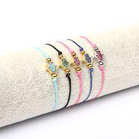 Nuovi braccialetti fatti a mano di disegno Donne 2019 Nuova corda Cz borda i braccialetti Accessori dei monili Braccialetto fortunato di Hamsa dell'occhio diabolico