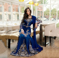 2020 Luxury Royal Blue Crystal Muslim Arabic Evening Dresses Wear With Wraps Appliques Lace Abaya Dubai Kaftan Long Formal Prom Party Gowns