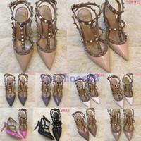 20 새로운 핫 브랜드 여성 웨딩 신발 여성 하이힐 샌들 누드 패션 발목 스트랩 리벳 신발 섹시한 하이힐 신부 신발 35-45 펌프