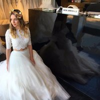 Two Pieces Wedding Dresses Lace Half Sleeves Jewel Neck Brid...