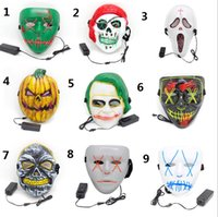 9 Arten LED Halloween Maske Glowing Party Maske EL-Wire Die Purge Wahljahr Große lustige Masken Cosplay Kostüm Requisiten