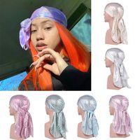 Laser Silk Durags Бандана Unisex Pirate Caps Scale шаблон Тюрбан Hat Мужчины Женщины головные уборы повязка для волос Аксессуары HHA1425