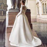 겸손한 긴 소매 웨딩 드레스 2020 새로운 국자 공단 Appliqued A 라인 신부 가운 주머니에 Vestidos 드 노비 아 (13)