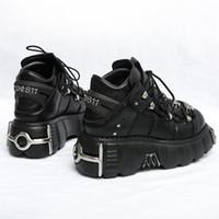 Rasmeup 2020 Punk Stil Kadın Sneakers Dantel-up 6 cm Platformu Ayakkabı Kadın Creepers Kadın Rahat Flats Metal Dekor Tenis Feminino