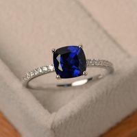 여성 쥬얼리 웨딩 약혼 선물 상감 돌 반지를 들어 패션 링 큰 광장 스카이 블루 스톤 반지
