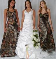 Camo Brautjungfernkleider Halfter Maßgeschneiderte Ärmellose Abendkleider Vintage Wald Formale Bodenlangen Brautmädchen Kleid Für Frauen Z67