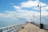 Beach Pier Fotografia sfondo vecchio legno Seach Beach Scenografia Sfondi cielo blu della nube per il fotografo adulti / bambini riprese in studio