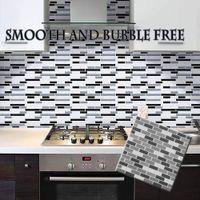 Simplicidade Boa aparência 3D Mosaico Adesivo De Parede Papel De Parede Auto-adesivo para Cozinha e Banheiro Telha De Vidro De Imitação De Cerâmica
