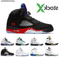 3 Rot Stock Feuer X 5 Top Mens-Basketballschuhe Alternate Bel Insel Green White Cement Alternate Grape 5s Männer Sport Designer Turnschuhe