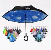 Reverse Umbrella C-Hook-windundurchlässiges Inverted Regenschirme Selbstständer Regenschirme Lange Schaft Double Layer Griff Regenschirme Winddichtes Regen-Gang LT40