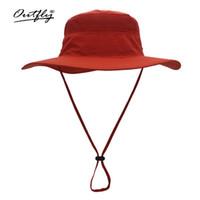 Unisex estivo protezione solare all'aperto cappello da sole pescatore berretto casual solido secchio maglia boonie cappello largo bordo stringa topee LJJJ67