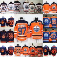 Edmonton oilers 29 Leon Draisaitl 97 Connor McDavid Wayne Gretzky Ryan Nugent-Hopkins 대체 홈 도로 하키 저지 스티치 스티치