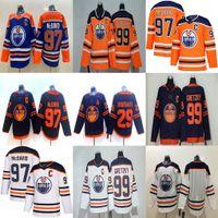 Edmonton Oilers Jersey Homens 97 Connor McDavid 29 Leon Draisaitl 93 Ryan Nugent-Hopkins 99 Wayne Gretzky 18 James Neal Hóquei Jerseys costurado