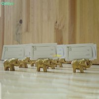 Lucky Gold Elephant Place Placówki / Uchwyt Nazwa tabeli Wedding Centrepiece Złoty Party Temat Favor