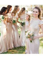 Gül Altın Şampanya Uzun Sequins Gelinlik Modelleri Sparkly Jewel Backless Trompet Mermaid Ülke Beach Boho Onur Elbise Hizmetçi