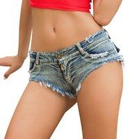 Sexy Ripped Pocket Pole Dance Bar Thong Shorts Jeans Denim Été Mode Bleu Taille Basse Clubwear Parfait Tendance S-L