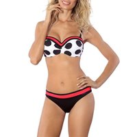 Женщины сексуальные купальники 2шт горошек лоскутное бикини наборы пуш-ап Мягкий бюстгальтер купальный костюм женский летний пляжный купальник горячие продажи