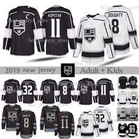 Los Angeles Kings 11 Anze Kopitar 32 Jonathan Quick 8 Drew Doughty 99 Wayne Gretzky مخيط الهوكي الأسود الفانيلة الرجال + أطفال