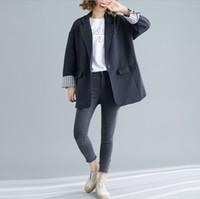 Roupas Femininas Primavera Outono coreano solto Leisure Suit Jacket Feminino Longo Casual Blazer para Lady 2 cores
