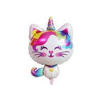 Rainbow Swirl Rainbow Ice Cream Balloon Unicorn Cat Rainbow Aluminum Film Balloon Festival Fiesta de Cumpleaños Decoración