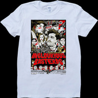 Inglorious Basterds Bianco, t-shirt con t-shirt da uomo in denim