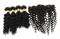 Su dalgası Saç Uzantıları 3 Demetleri ile 13x4 Saç Kapatma kulağa Brezilyalı% 100% Virgin İnsan Saç Örgüleri Doğal Renk 8-28 inç