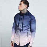 الأزياء تشغيل سترة الرجال مضغوط التدرج اللياقة معطف مقنعين الركض المشي بلوزات رياضة الرياضة سترة كرة السلة هوديس الملابس