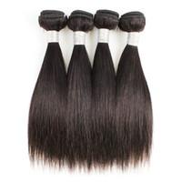Gerade Haarbündel 4 Stück 50g / pc Natürliche Farbe Schwarz Peruanisches Jungfrau Menschliche Weberei Erweiterungen für kurze Bob-Art