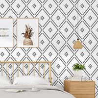 Modern kısa tarzı duvar kağıdı TV arka plan siyah beyaz ızgara elmas tasarımı yatak odası oturma odası, modern minimalist ev duvar rulo