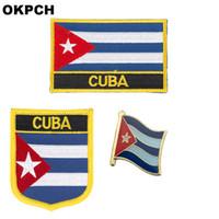 Kuba flagge patch abzeichen 3 stücke ein satz patches für kleidung diy dekoration pt0070-3