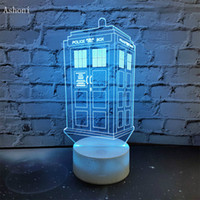 7 Colors Change Lamp Doctor Who Police Box 3D Lamp Acrylic L...