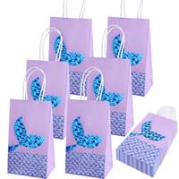 Meerjungfrau Party Papier Geschenk Taschen Meerjungfrau Party Supplies Goodie Taschen Glitter Treat Taschen für Kinder Meerjungfrau Motto Party