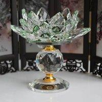 I titolari di cristallo del blocco di vetro Lotus Flower candela metallo Feng Shui Home Decor Big Tealight Candelieri supporto del basamento