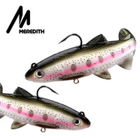 MEREDITH Trout 15cm Lead Head PVC Fishing Lures Swimming Art...