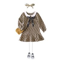 Retail baby girl dresses lapel long sleeve F Letter printed ...