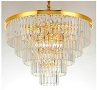 Modern lámpara colgante de oro K9 Crystal colgar las luces D60cm H50cm / D80cm H65cm lámpara AC LED Lustres Pendentes Lustre De Cristal Decoración
