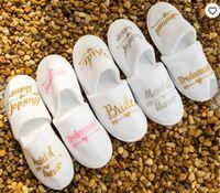 Mode Braut Hausschuhe Braut Stamm Brautjungfer Mid of Ehre Hochzeit Schuhe Braut Party Spa Tag Henne Nacht Hochzeit Favoriten