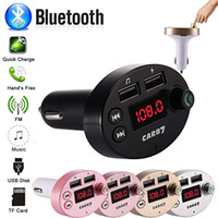 Kit voiture Transmetteurs FM Sans fil Bluetooth mains libres Appelant Mic Adaptateur audio Récepteur 5V / 2.1A USB Charge rapide Support Carte Flash Drive TF