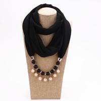 Bandanas musulmans pour les femmes de la mode printemps et l'automne Lady Imitation Perles Pendentif en mousseline de soie Foulards lisses Wraps écharpe