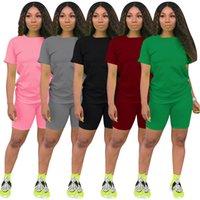 Летние хлопковые повседневные 5 цветов доступны круглый вырез короткие рукава короткие брюки 2 шт наборы дышащий абсорбент йога спортивные женские спортивные костюмы