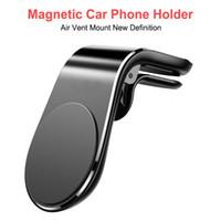 المغناطيسي حامل سيارة الهاتف تنفيس الهواء جبل حامل L الشكل في السيارات GPS مسند مغناطيس للحصول على هاتف اي فون X سامسونج هواوي
