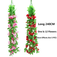 Artificiale Blossoms Fiore muro Vines ghirlanda di party di seta falso Fiore Rattan Wedding Hanging Garland Home Decor Silk Flower 2.4M