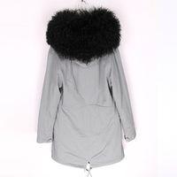 Мода MAOMAOKONG Марка открытый холодная погода черный Монголия овец мех толстовка отделка дамы шубы черный кролик меховая подкладка серый длинные парки