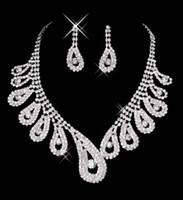 15042 Venta caliente barata para mujer Bridal Body Pageant Rhinestone Collar Pendientes Conjuntos de joyería para la joyería nupcial de la fiesta